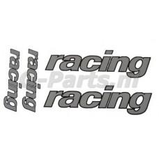 Stickerset Racing 4 delig zilver