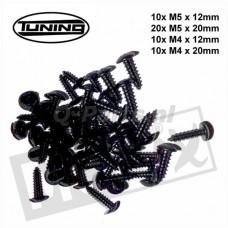 Parkerset staal zwart M4/M5 x 12/20 sortie50 stuks