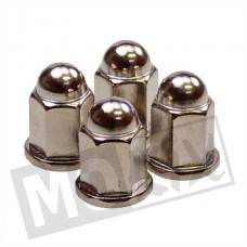 Dopmoer-cilinderkop moer M7 chroom 4 stuks