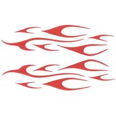 Siliconen stickerset Edge vlammen - rood metalic